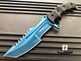 Monogram Knife, Custom Knives, Hunting Knife, Personalized Knife, Engraved Knives, Hunting Bowie Knife, CS:GO Fixed Blade Knife w/ Sheath (Blue)