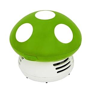 Small Vacuum Cleaner Creative Desktop Vacuum Cleaner Cartoon Mushroom Mini Keyboard Dust Collector (Green)