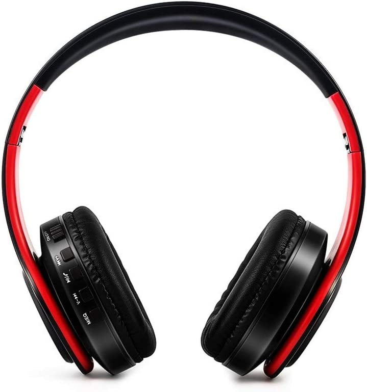 Han Shi Wireless Bluetooth Headphones Foldable Lightweight Over Ear Headsets with Microphone, Soft Earpads Deep Bass Stereo Earphone for Sport, Work, Travel #BAO0120-007(Red-A)