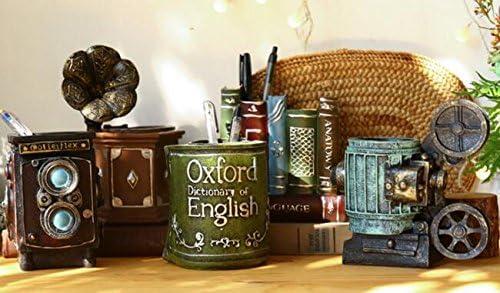 Evalent portapenne e organizer da scrivania a forma di libri in resina stile retr/ò antico; accessori per la decorazione della casa Red Book Red