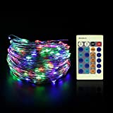 FUNHOUR LED String Lights 33ft 100LEDs Silver Wire Dimmable with Remote Control Xmas Waterproof Decorative Fairy LED Strip Lights for Christmas Outdoor,Wedding,Home,Party,Patio,Garden,Yard(RGB COLOUR)