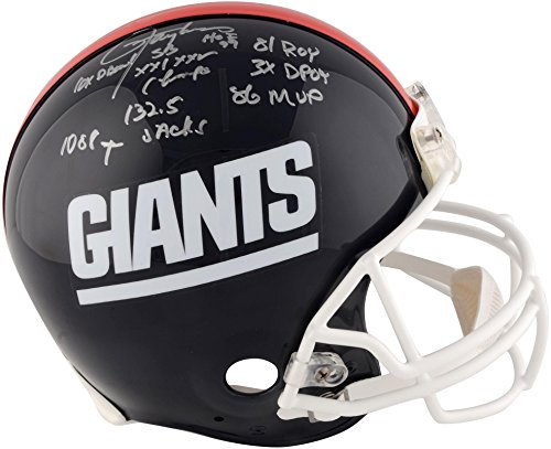 (Lawrence Taylor New York Giants Autographed Riddell Throwback Pro-Line Helmet with Multiple Career Inscriptions - Limited Edition of 56 - Fanatics Authentic)