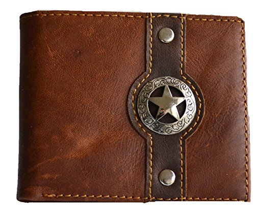 - western men brown texas star concho bi-fold small hipster slim leather coin wallet (BROWN)