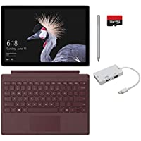2017 New Surface Pro Bundle (5 Items): Core m3 4GB RAM 128GB Tablet, New Surface Pen Platinum, Surface Pro Signature Type Cover Burgundy, 128GB Micro SD Card, Mini DisplayPort