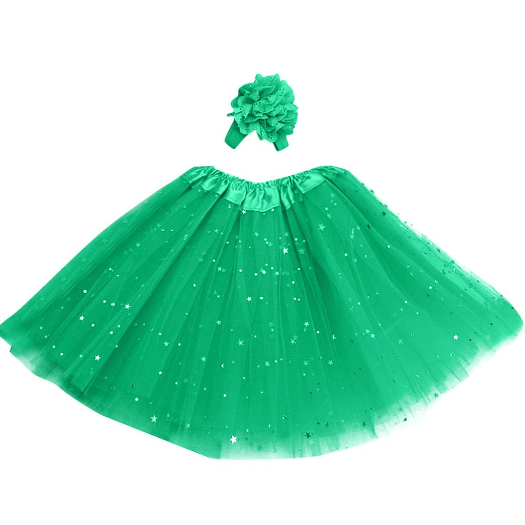 Lanhui Kids Girl Petticoat Paillette Star Tutu Skirt Pettiskirt Hair Band Dancewear (3-8 Years, Green)