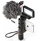 Mouriv Smartphone Video Rig iPhone Filmmaking Recording Mobile Phone Vlogging Hand Grip Stabilizer With Mini Cardioid Microphone ,Video LED Light, Solid Aluminum Cold Shoe Extension Bar