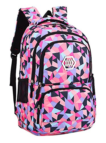 Preppy School Supplies (Fanci Geometric Prints Primary School Student Satchel Backpack For Girls Waterproof Preppy)