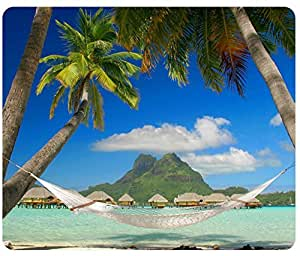 Beaches Sky Palm Ocean Island France Leeward Society Islands French Polynesia Pacific Ocean Hammock Mousepad,Custom Rectangular Mouse Pad by ruishername