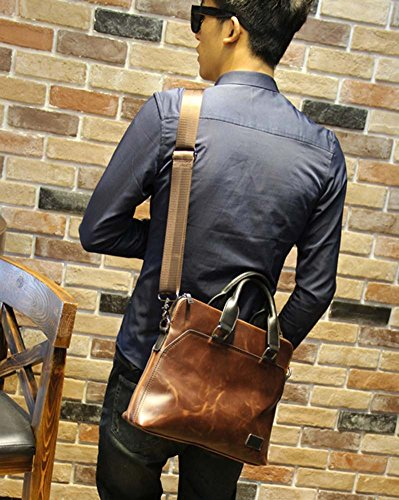 Männer Schultertasche Messenger Bag Computer Bag Crazy Pferd Haut Skew Kreuz Tasche 4gRX4