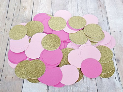 Hot Pink, Light Pink and Gold Glitter Paper Confetti Circles - Party Decoration -1, 1.5, 2 Inch Confetti Circles-200 Pieces