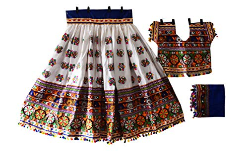 Nanda Women Rayon Indian Embroidered Lehenga Choli-Navratri Special Choli-Boho Hippie Wear Ghagra Choli-Ras Garba Costume White Free Size ()
