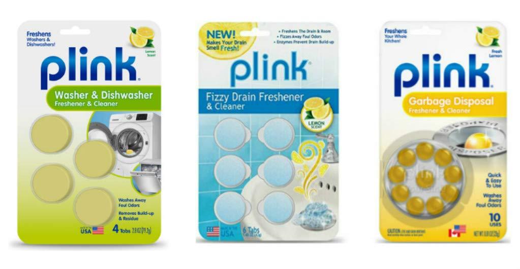 Plink Washer Dishwasher and Drain Freshener Cleaner Bundle by Plink