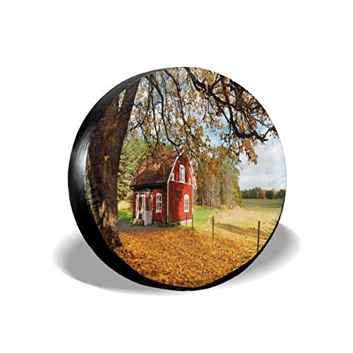 GULTMEE Tire Cover Tire Cover Wheel Covers,Quaint Traditional Red Swedish House Tranquil Environment Cottage Countryside Woods,for SUV Truck Camper Travel Trailer Accessories(14,15,16,17 Inch) 16