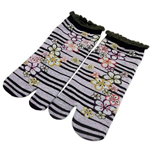 Iwami Co LTD. Women's Japanese Apricot 2 Tabi Socks 6-8 Black