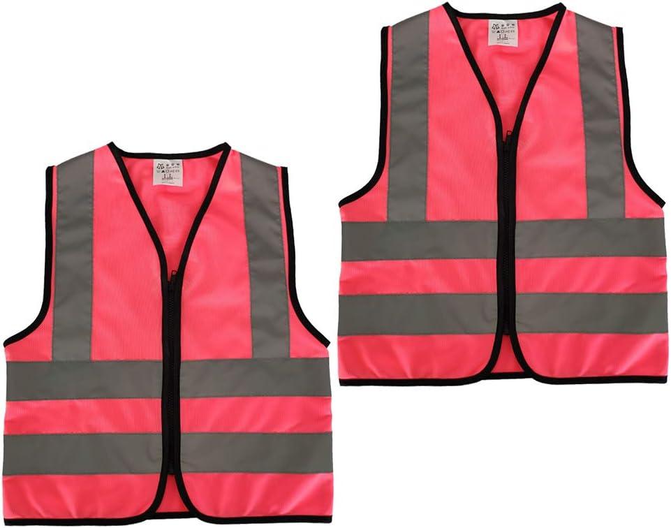M, Fluoreszierendes Gelb 2er Warnweste Kinder Sicherheitsweste mit Rei/ßverschluss 4 Reflektierende Warnweste Atmungsaktiv f/ür Kinder 5-12 Jahre