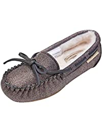 Moccasins for Girls,Glitter Slippers, Big Kids House Shoes,Faux Fur Loafers