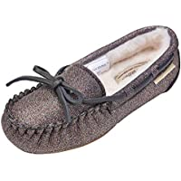 MACCA BROWN Moccasins for Girls,Glitter Slippers, Big Kids House Shoes,Faux Fur Loafers