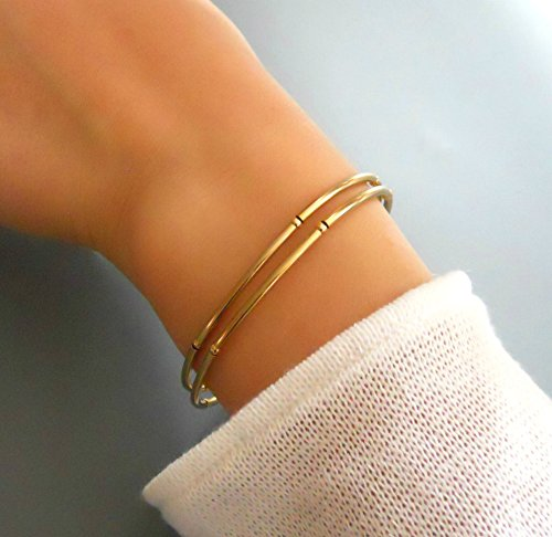Handmade Designer Dainty Gold Bangle Cuff Bracelet With Tubes (Hand Forged Circle Necklace)