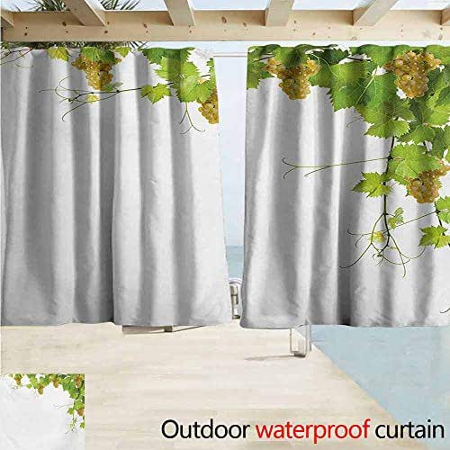 XXANS Thermal Insulated Blackout Curtains Vineyard Collage of Wine Leaves on Bunch Farming Natural Rural Tasty Food Berry Image,W55x63L Inches,Durable Green Yellow
