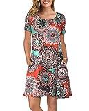 KORSIS Women's Summer Floral Dresses Short Sleeve Tunic T Shirt Swing Dresses Round Flower Orange L