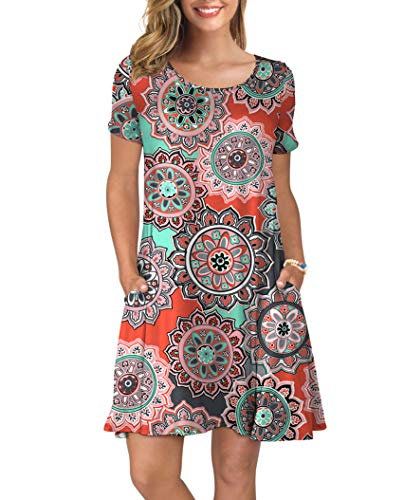KORSIS Women's Summer Floral Dresses Short Sleeve Tunic T Shirt Swing Dresses Round Flower Orange L (Ladies Dresses Casual)