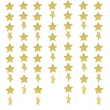 Arts & Crafts : 49 Feet Star Paper Garland Whaline Bunting Banner Hanging Decoration for Wedding Holiday Party Birthday, 2.75 Inches (Gold)