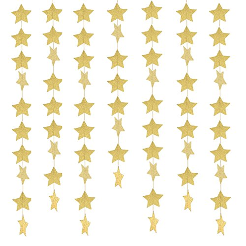 49 Feet Star Paper Garland Whaline Bunting Banner Hanging Decoration for Wedding Holiday Party Birthday, 2.75 Inches (Gold) Gold Star Garland