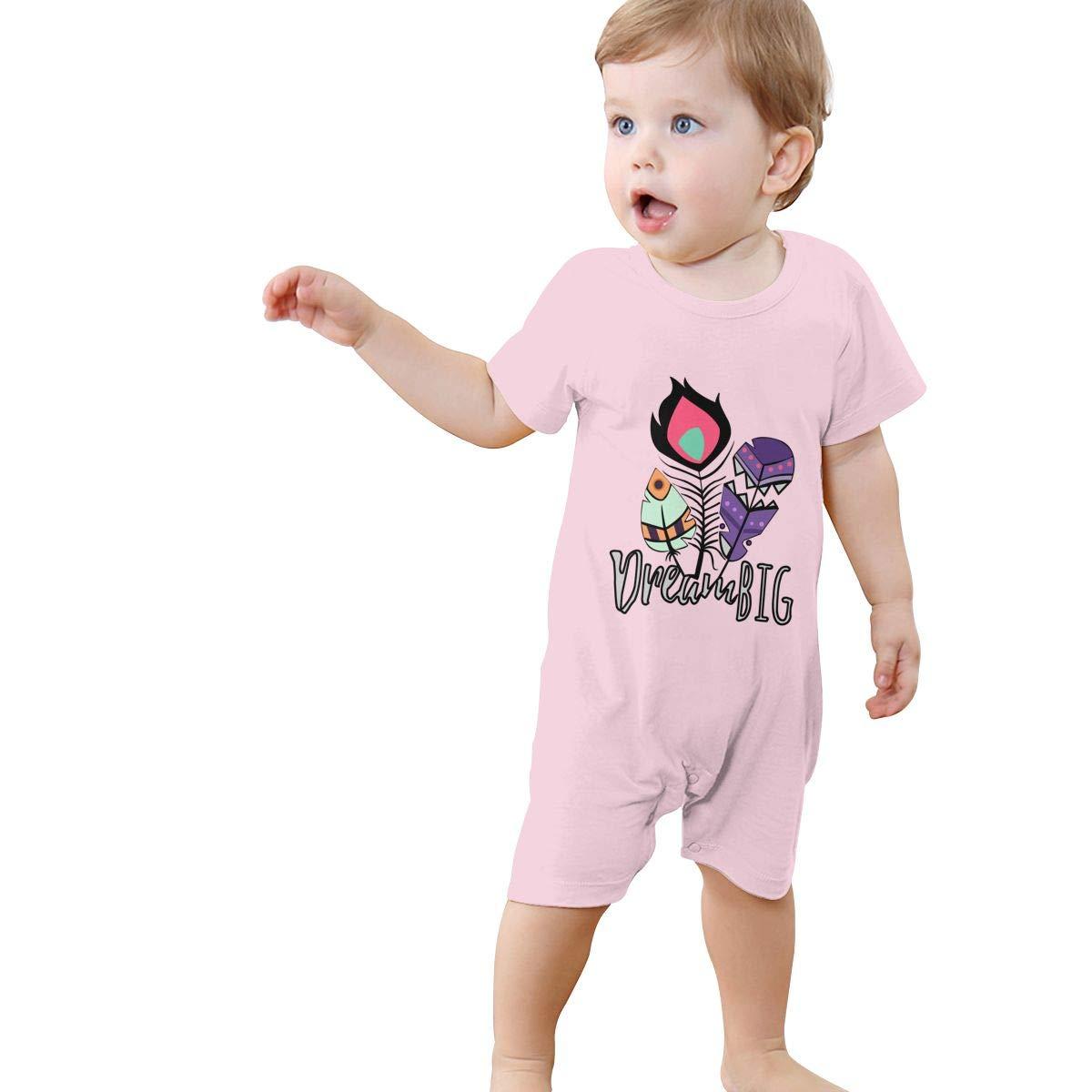 YINGFG Baby Boys Girls Short Sleeve Jumpsuit Dream Big Cotton Romper