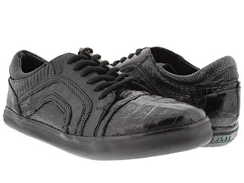Dolce Pelle - Men's Black Genuine Crocodile & Lizard Skin Fashion Sneaker Leather Shoes 12.5 EE (Genuine Lizard Skin)