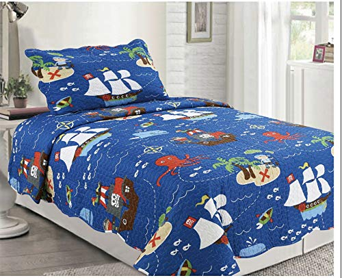 (Elegant Home Multicolor Pirates Ships Ocean Sea Themed Design Style 2 Piece Coverlet Bedspread Quilt for Kids Teens Boys Twin Size # 062)