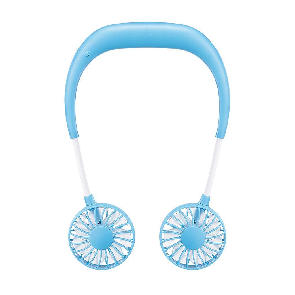 Negro Chiic Port/átil Bater/ía USB Recargable Mini Fan-Wearable Necklace Fan Ventilador Ajustable Manos Libres Cuello Fan Sport Fan