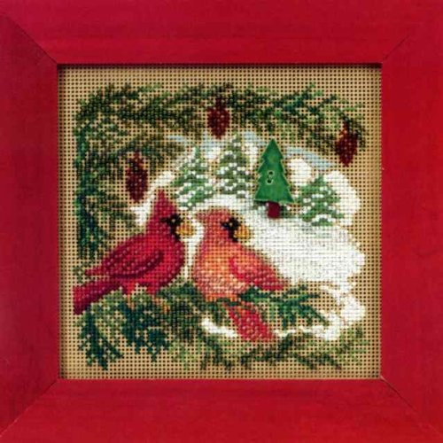 Button Bead Kit (Cardinal Forest Beaded Counted Cross Stitch Kit Mill Hill 2010 Buttons Beads Winter MH140301)