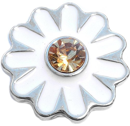 White Daisy Snap Charm (Standard 18mm Size)