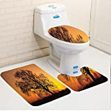 Keshia Dwete three-piece toilet seat pad customFarm Old Oak in the Sunset Horizon Golden Sunlight Countryside Nature Picture Print Orange and Brown