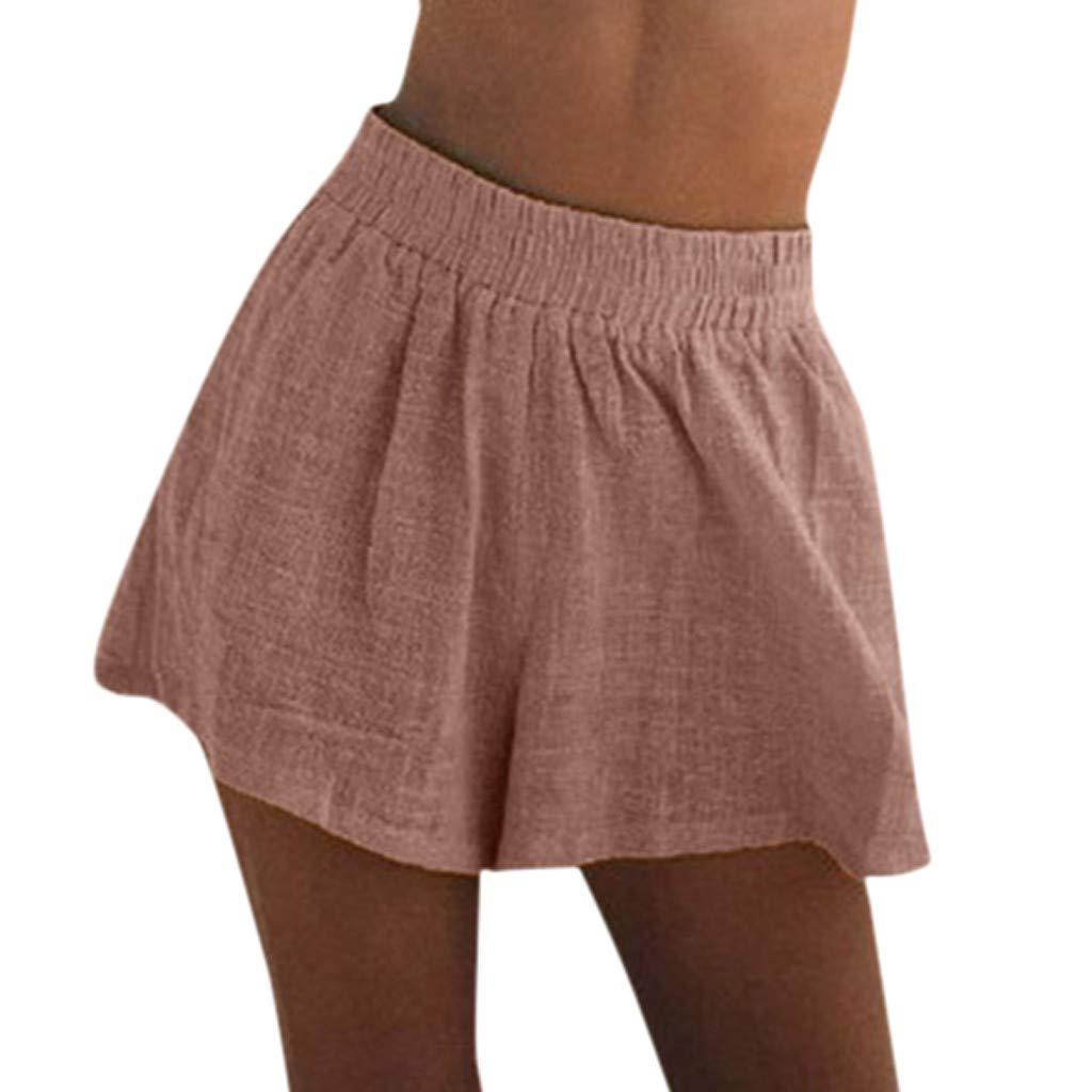 J-paty Women's Shorts, Elastic Waist High Waist Pants Comfy Cotton Linen Pants Solid Loose Bermuda Shorts Pyjama Beachwer Pink