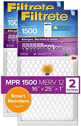 Filtrete 16x25x1, Smart Replenishable AC Furnace Air Filter, MPR 1500, Allergen, Bacteria & Virus, 2-Pack (precise dimensions 15.719 x 24.72 x 0.78)