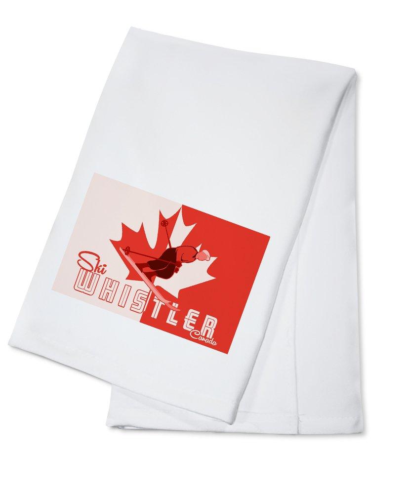 Ski Whistler, Canada - Leaf and Skier (100% Cotton Kitchen Towel)