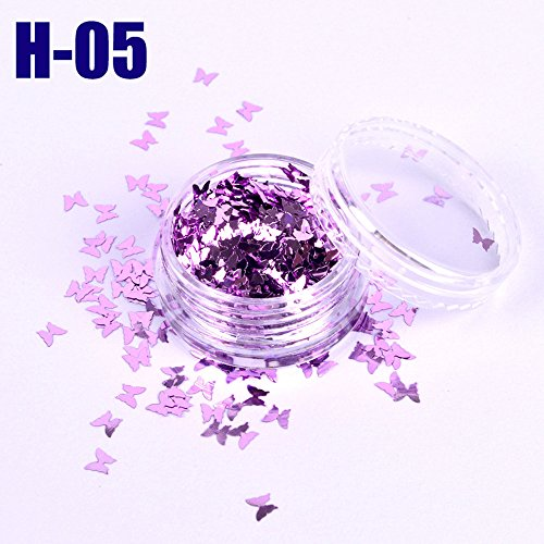 HCFKJ 12Color Nail Flash Magic Discoloration Nail Decoration Butterfly Sequins E