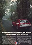 "1972 AMC GREMLIN X 304 V-8 ""A Gremlin with the heart of a Javelin..."" - VINTAGE COLOR AD - USA - EXCELLENT ORIGINAL !!"
