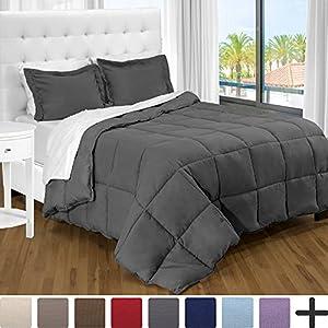 Ultra-Soft Premium 1800 Series Goose Down Alternative Comforter Set - Hypoallergenic - All Season - Plush Fiberfill, Twin Extra Long (Twin XL, Grey)