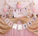 Happium - Happy Birthday Bunting Banner with Gold Letters (Pink)