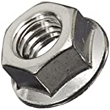 "18-8 Stainless Steel Hex Flange Nut, Plain Finish Self-Locking Serrated Flange, ASME B18.2.2, 5/16""-18 Threads (Pack of 25)"
