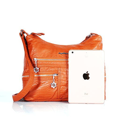 brown 5010 Bag Roomy Angel Barcelo Designer Ladies' Women's Handbag PU Satchel Handbags Pockets 6 Fashion Multiple Bag Shoulder Tote Bag T1Hqfw