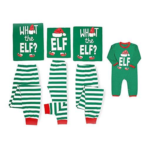 Kids Elf Pajamas (Yaffi Matching Family Pajamas Sets Christmas PJ's with ELF Printing Long Sleeve Tee and Striped Pants Loungewear Sleepwear (Kids: 7-8 Years, Green)