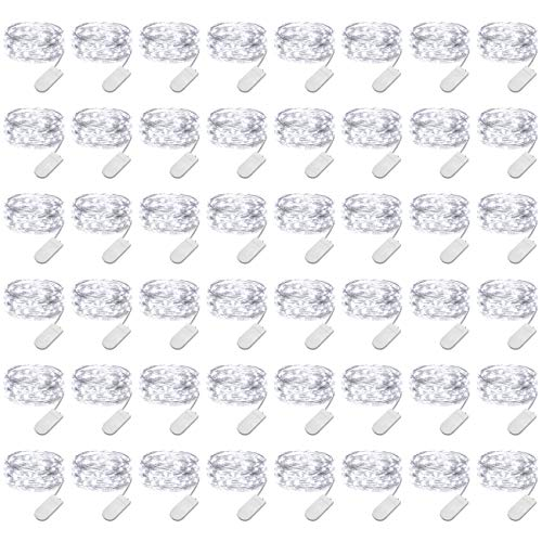 (LEDIKON 48 Pack Fairy Lights Battery Operated,3.3FT 20 LEDs Cool White Mini Led String Lights,Waterproof Firefly Starry String Lights for Wedding Centerpieces Party Mason Jars Christmas Decorations )