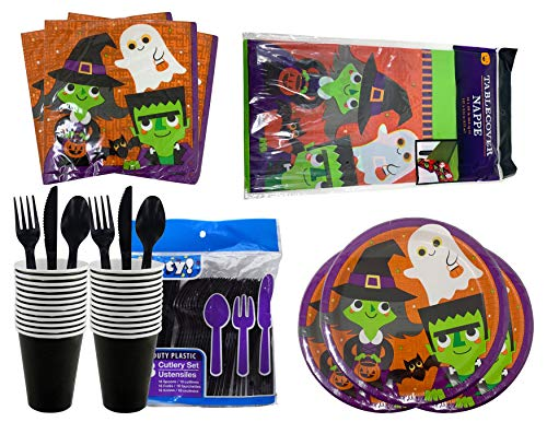 Dead Famous Halloween Party (Halloween Party Supplies Set, Day of The Dead Party Tableware and Decorations Set, Plates, Table Cover, Party Napkins (Witch Ghost Frankenstein)