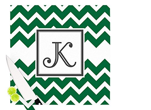 Multicolor 11.5 x 15.75 KESS InHouse Kess OriginalMonogram Chevron Green Cutting Board