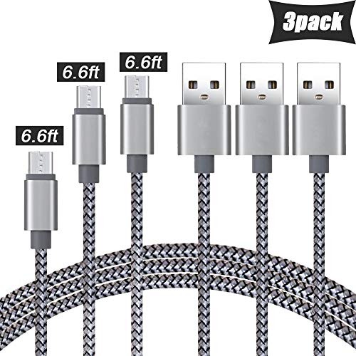 Micro Usb Cable Android Charger, Micro USB Charger, [3-Pack 6.6ft] Durable Nylon-Braided Android Charging Cord for Samsung, Kindle, LG, HTC, Nexus, Sony, Nokia, PS4, Smartphones-Black Grey]()