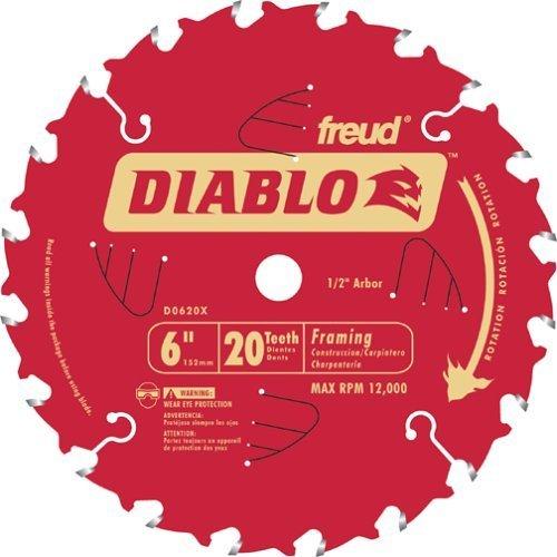 Freud D0620X Diablo 6-inch 20 Tooth Perma-Shield TiCO Framing Saw Blades, 5-Pack