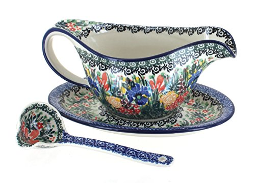 Blue Rose Polish Pottery Summer Blooms Gravy Boat & Ladle